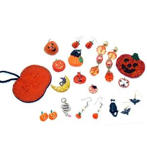 Halloween jewelry lot pumpkin pin earrings bat cat